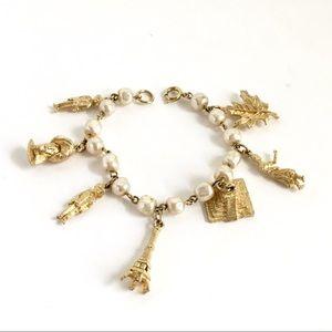 Vintage Charm Bracelet Baroque Pearls Gold Tone